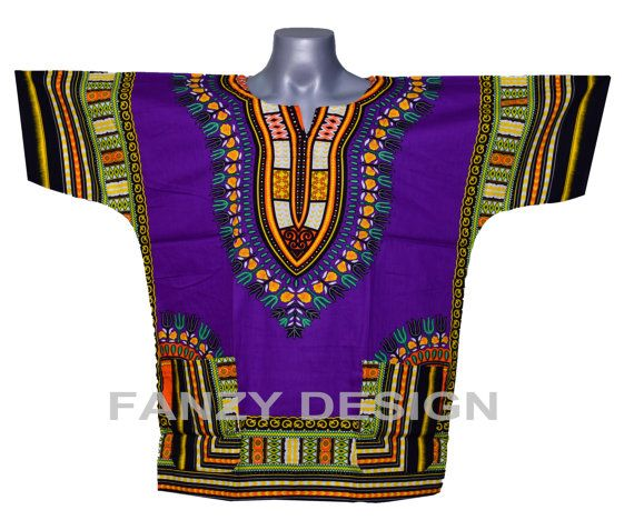 New African Dashiki ShirtUnisexblousewomenpurple by FANZYDESIGN