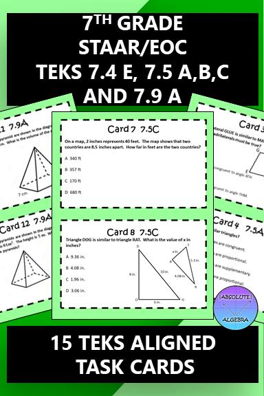 7th Grade STAAR EOC TEKS Aligned Task Cards 7.4 E, 7.5 A,B ...