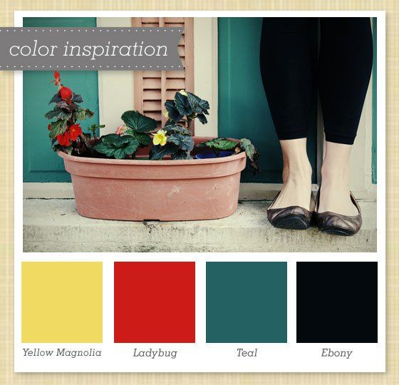 Yellow, Red, Teal and Ebony Color Palette 6 images