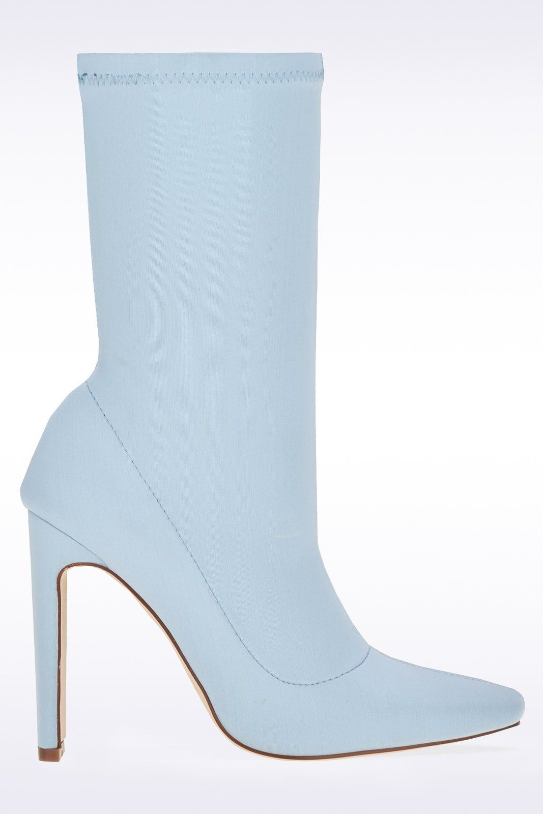 f4f5869b02f Baby Blue Pointed Toe Sock Boots-Boots-Hidden Fashion