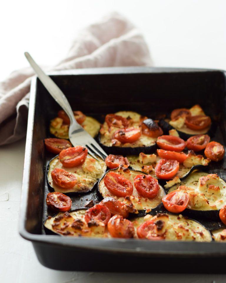 Gebackene Aubergine mit Feta und Tomaten - Kochstübchen #15minworkout