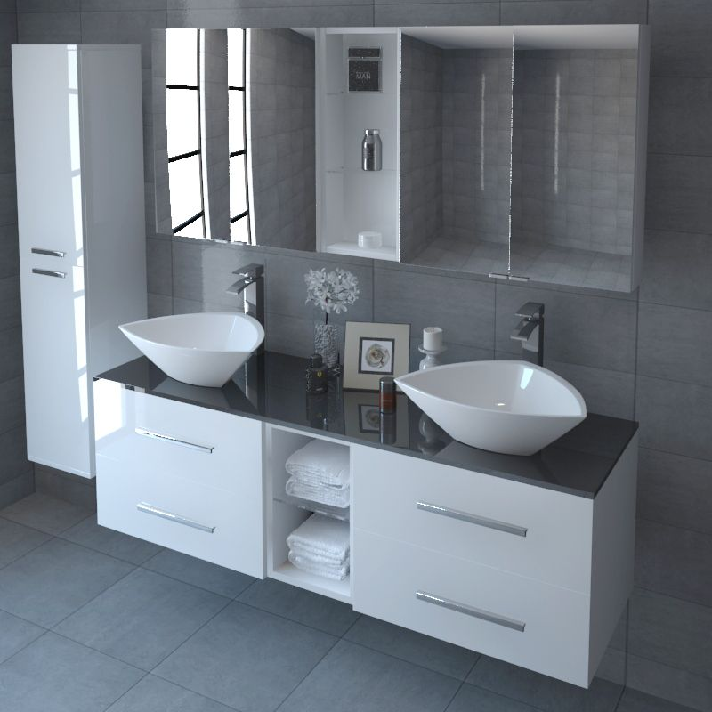 Tilly Sonix 1500 Glass Top Wall Hung Double Vanity Unit Inc Tilly