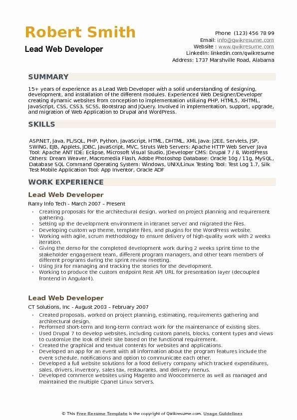 Java Developer Resume 2 Years Experience Fresh Lead Web Developer Resume Samples In 2020 Web Developer Resume Web Development Job Resume Samples