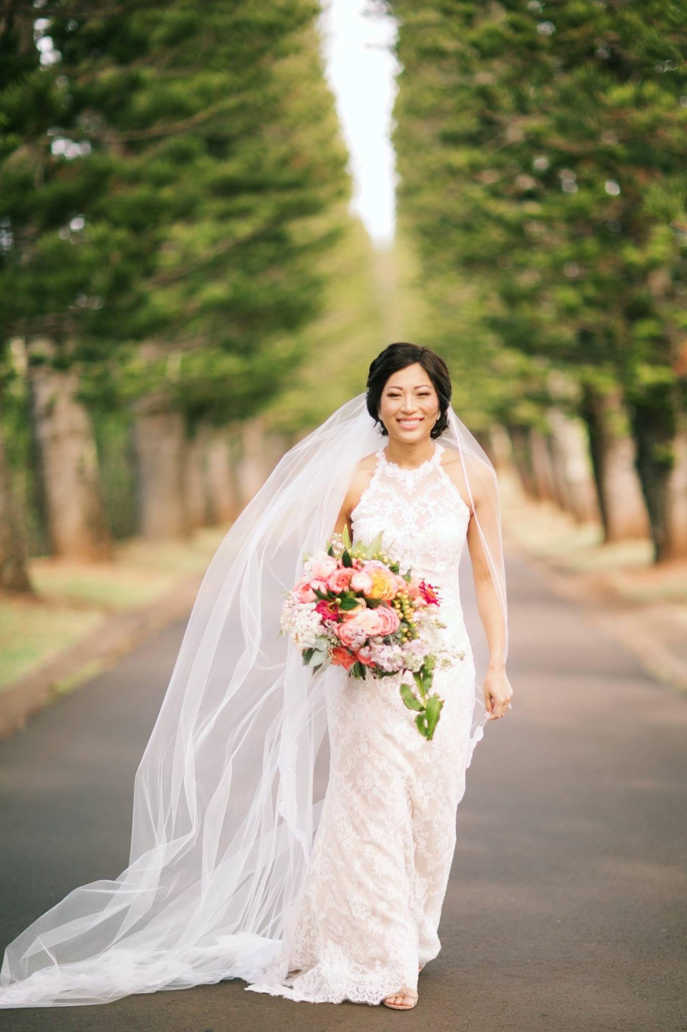 Lace wedding dress long veil colorful bridal bouquet anna kim