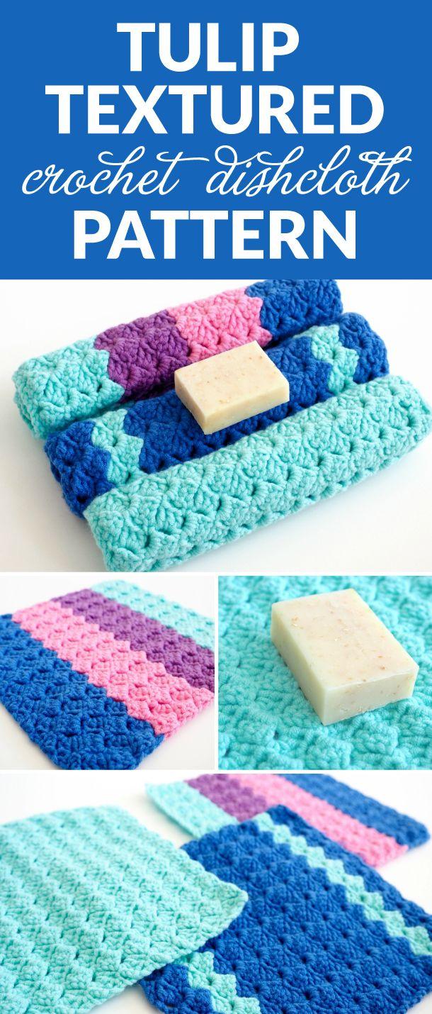 Tulip Textured Crochet Dishcloth Pattern | Frazada, Varios y Coser