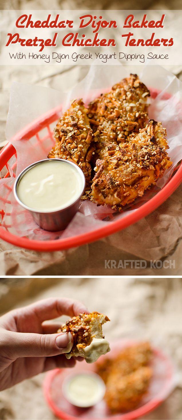 Cheddar Dijon Baked Pretzel Chicken Tenders with a Honey