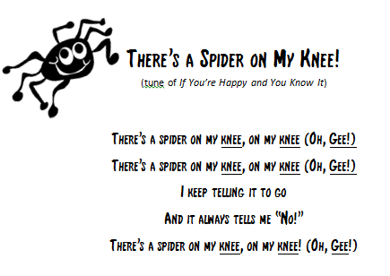 Image result for there's a spider on my knee song