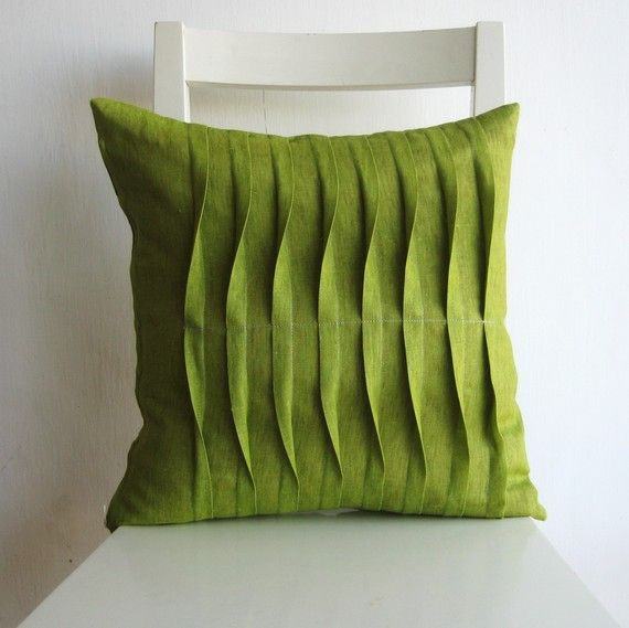 f750466ff107  Handmade pleated light green 16 x 16 cushion cover from Israel by pillow1.   21