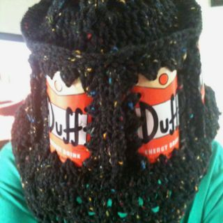 Pop or beer can hat. Made it for my daughter out of Duff energy drink cans from Hot Topic. She loves the Simpsons.