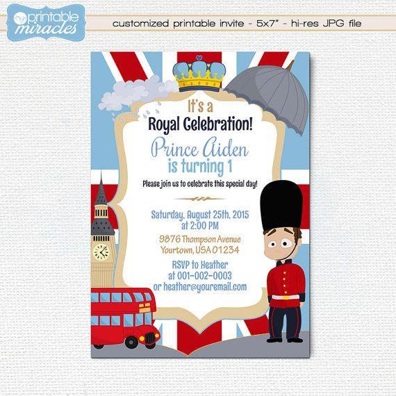 London Birthday Invitation Printable British Party Invite Card Kids Royal Celebrat Printable Birthday Invitations Party Invitations Kids Birthday Invitations