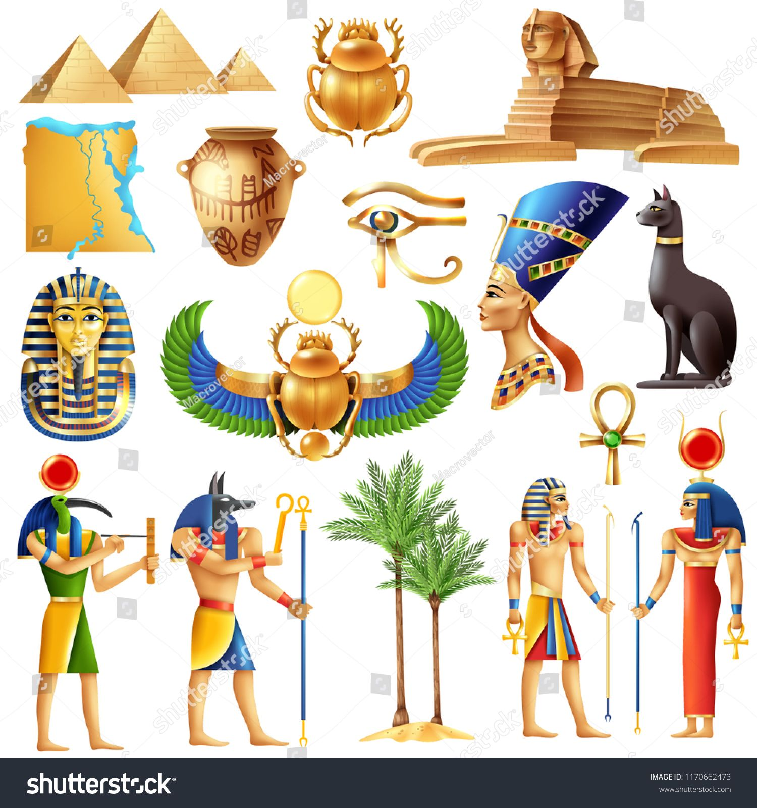 Egypt Symbols Set In Cartoon Style With Ancient Egyptian