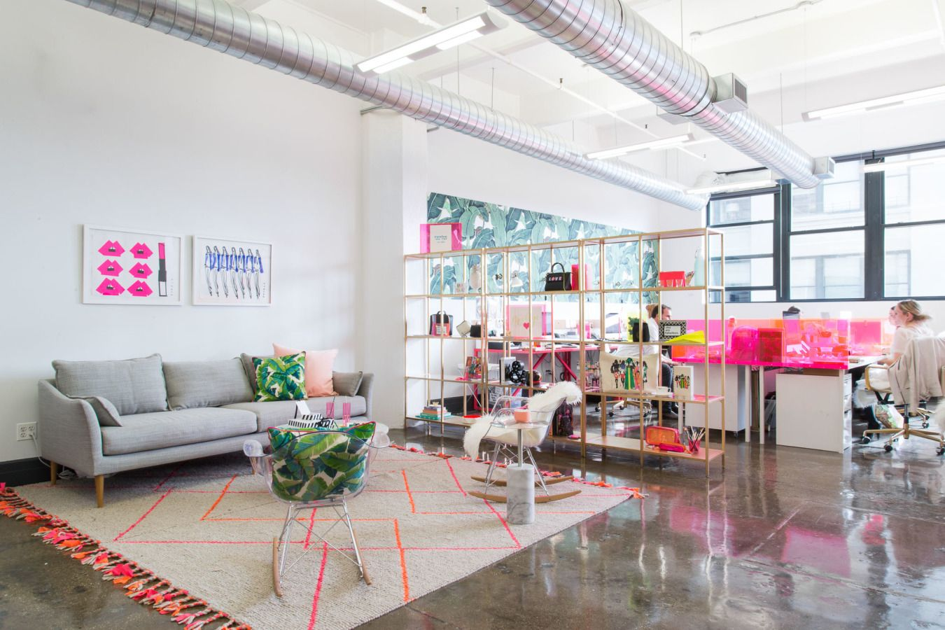 At TwelveNYC, a product development agency in the DUMBO neighborhood of Brooklyn, Homepolish's Tina Apostolou channeled the company's creativity into an office absolutely full of color.