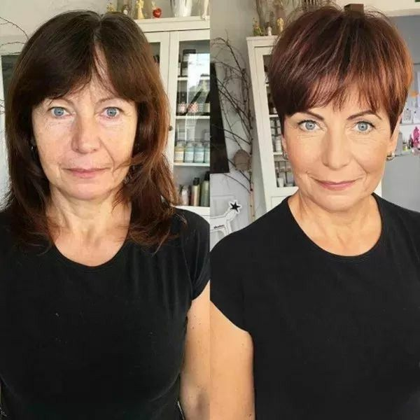 Great Makeover What A Difference The Right Haircut And Correct Makeup Application Can Make Hair Stylist Tips Thick Hair Styles Haircut For Older Women