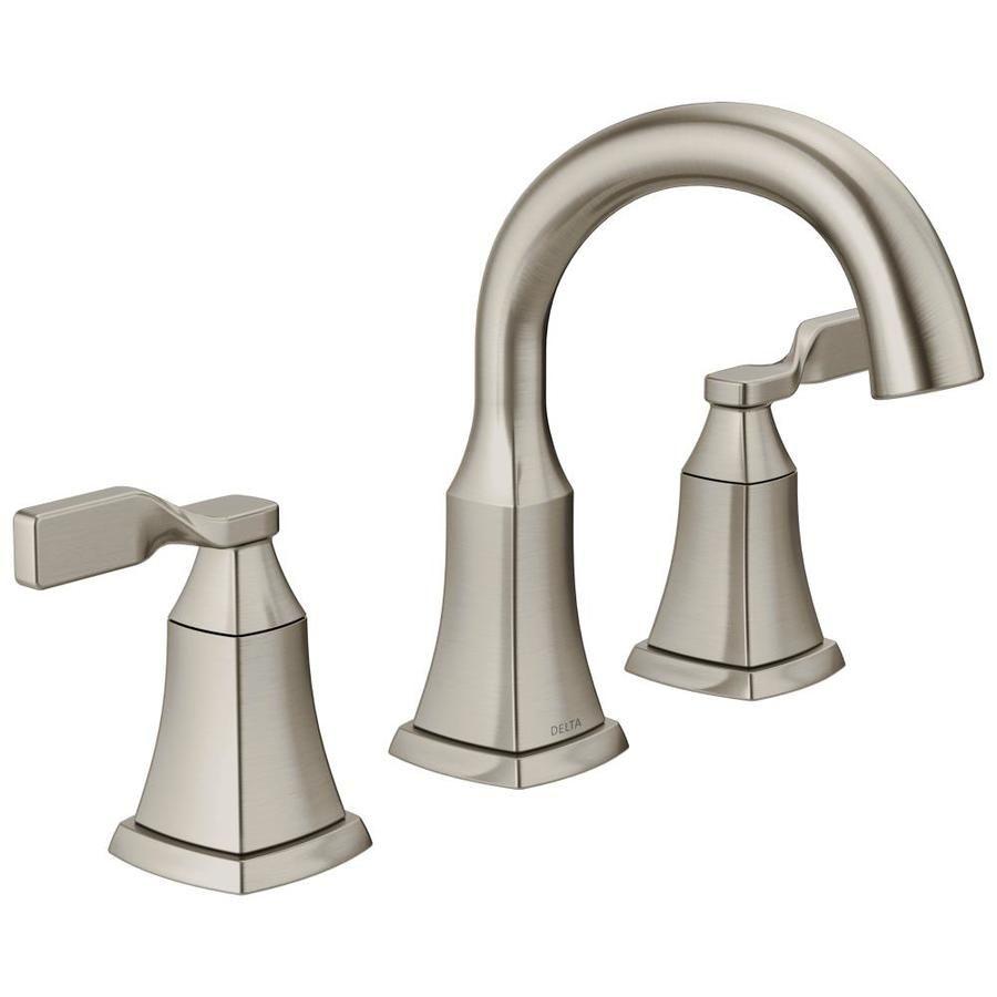 Delta Rila 8 In Widespread 2 Handle Bathroom Faucet In Spotshield Brushed Nickel Bathroom Faucets Bathroom Sink Faucets Sink Faucets
