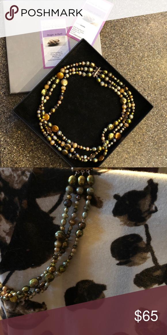 Designer Pearl Triple Strand Necklace Vintage NIB