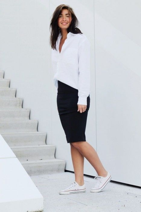 7684de4d8c97b4 @roressclothes closet ideas #women fashion outfit #clothing style apparel  white top black skirt