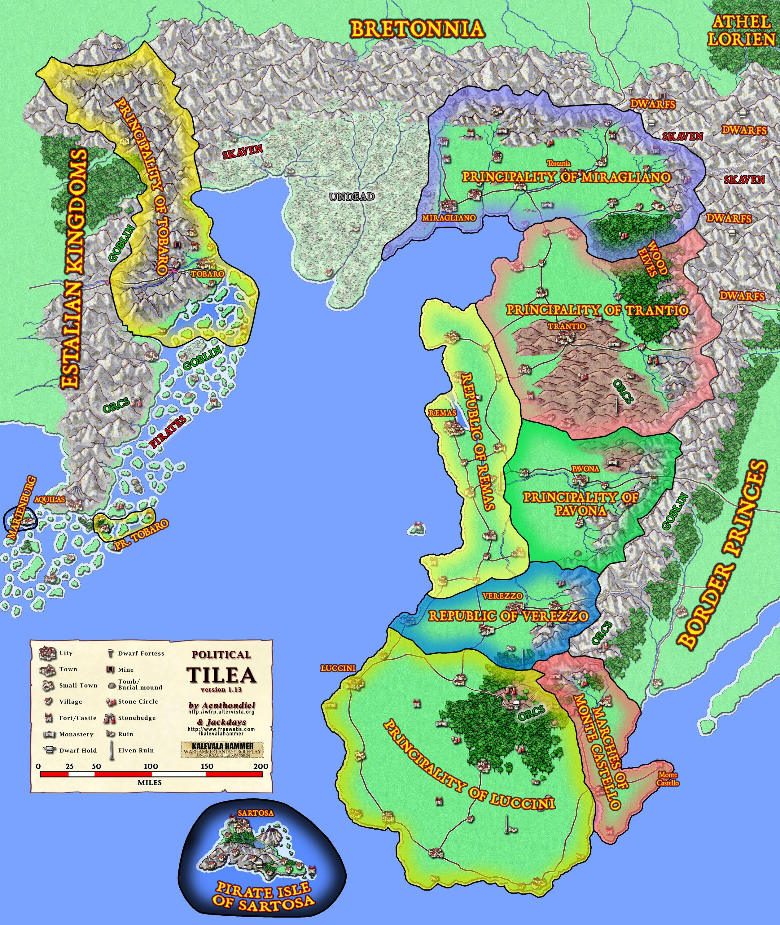 Warhammer Fantasy Role Play ed.2 Tilea political map | wh ...