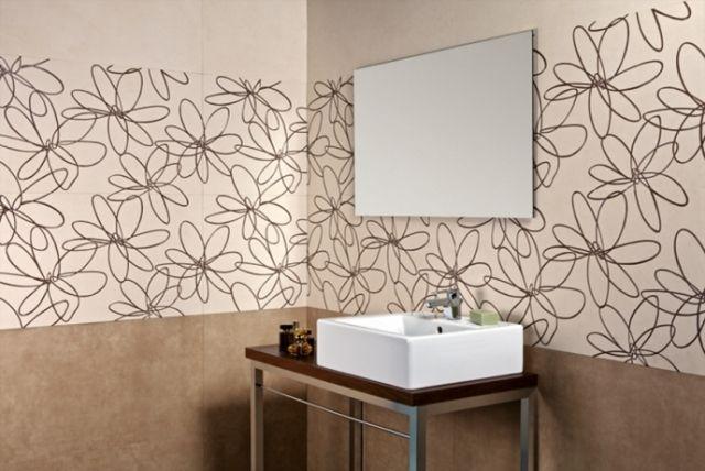 Moderne Fliesen Badezimmer Creme Braun Florale Motive