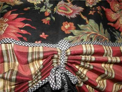 VALANCE French Country CURTAIN Tie Up Balloon Shade Red Plaid Black Tassel Trim Window
