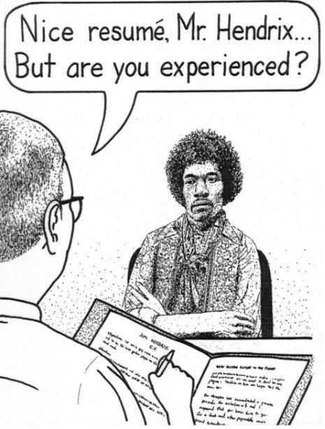 Nice resume, Mr HendrixBut are you experienced? comics music - resume music
