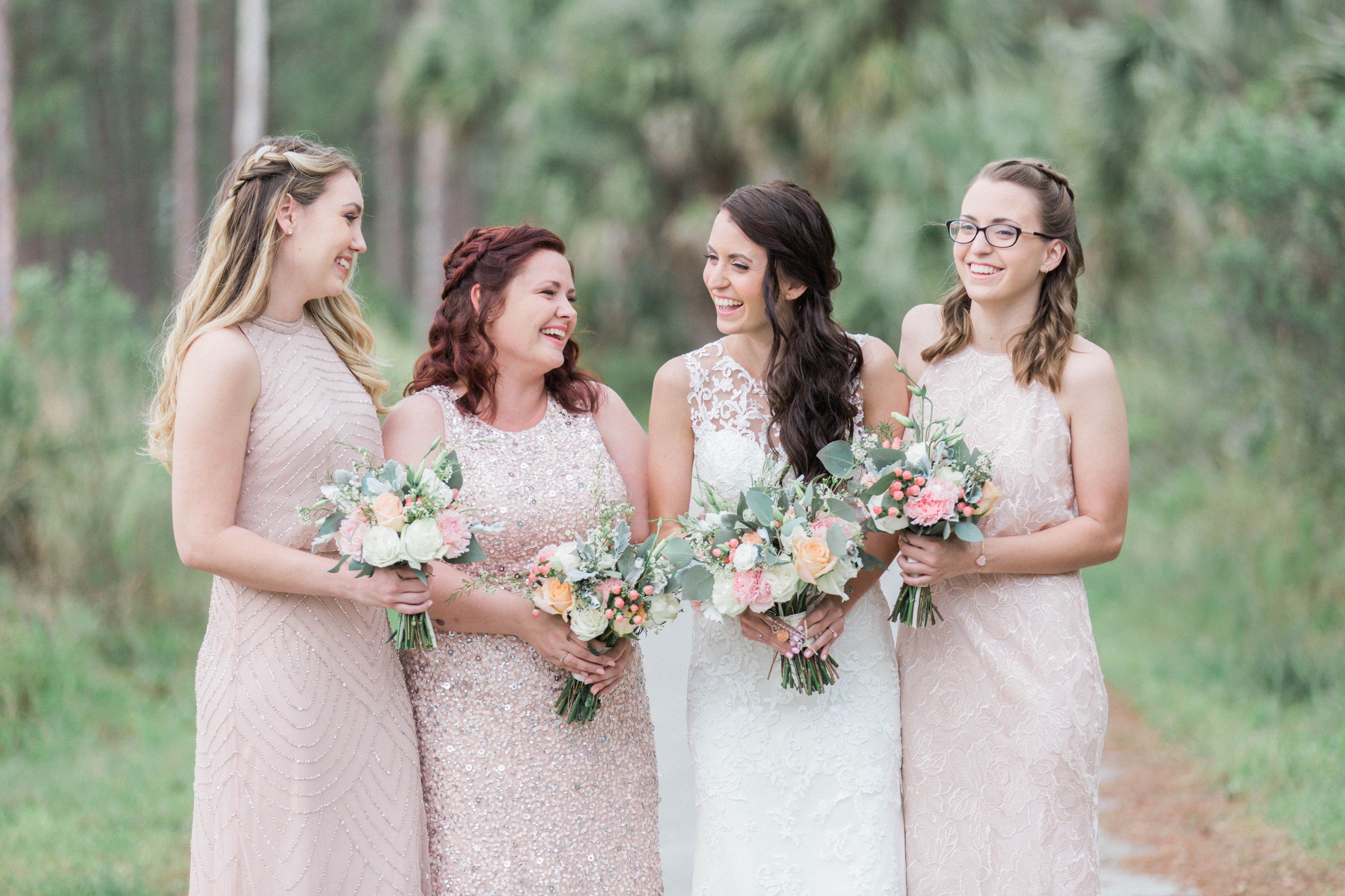 Pink Bridesmaid Dresses Blush Bride Tribe Banyan Estate Wedding