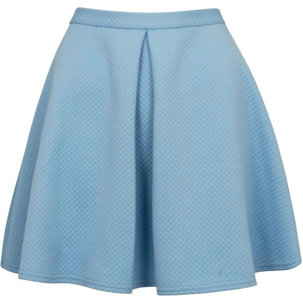 Closet Waffle Flare Skirt, Pale Blue (€17) ❤ liked on Polyvore