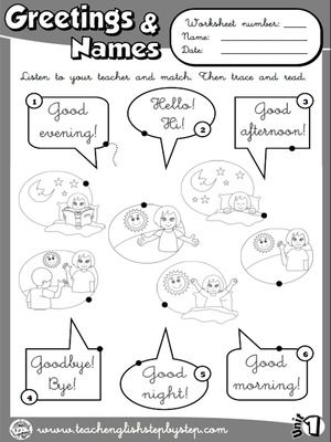 Greetings And Names Worksheet 1 Bw Version Design Pinterest