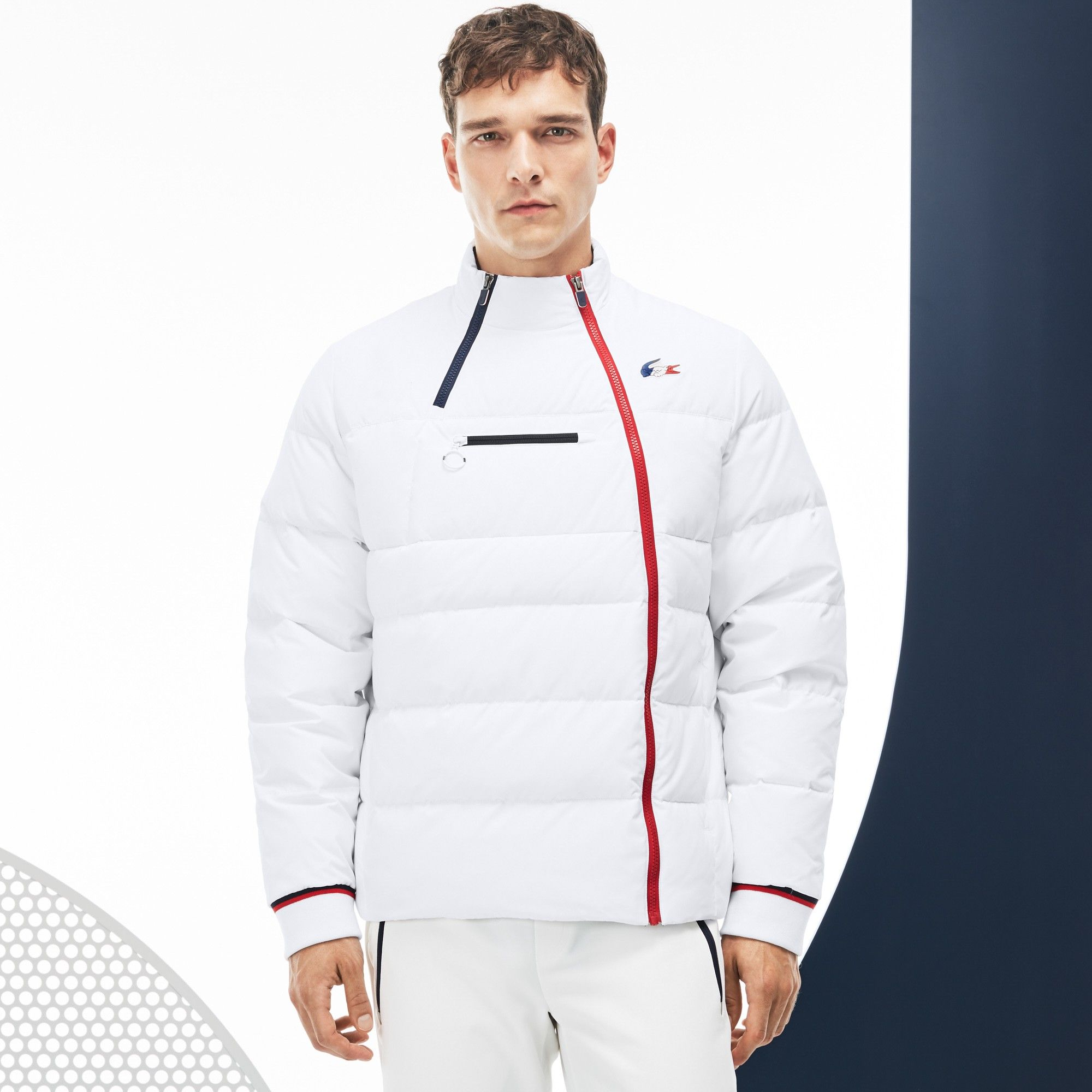 641eb96dc0201 Lacoste Men s French Sporting Spirit Edition Elasticized Panel Quilted  Jacket - White Navy Blue-Red L