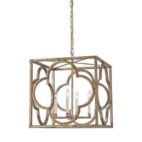Cosette Peppercorn Gold Four Light Lantern Pendant Lighting Ceiling
