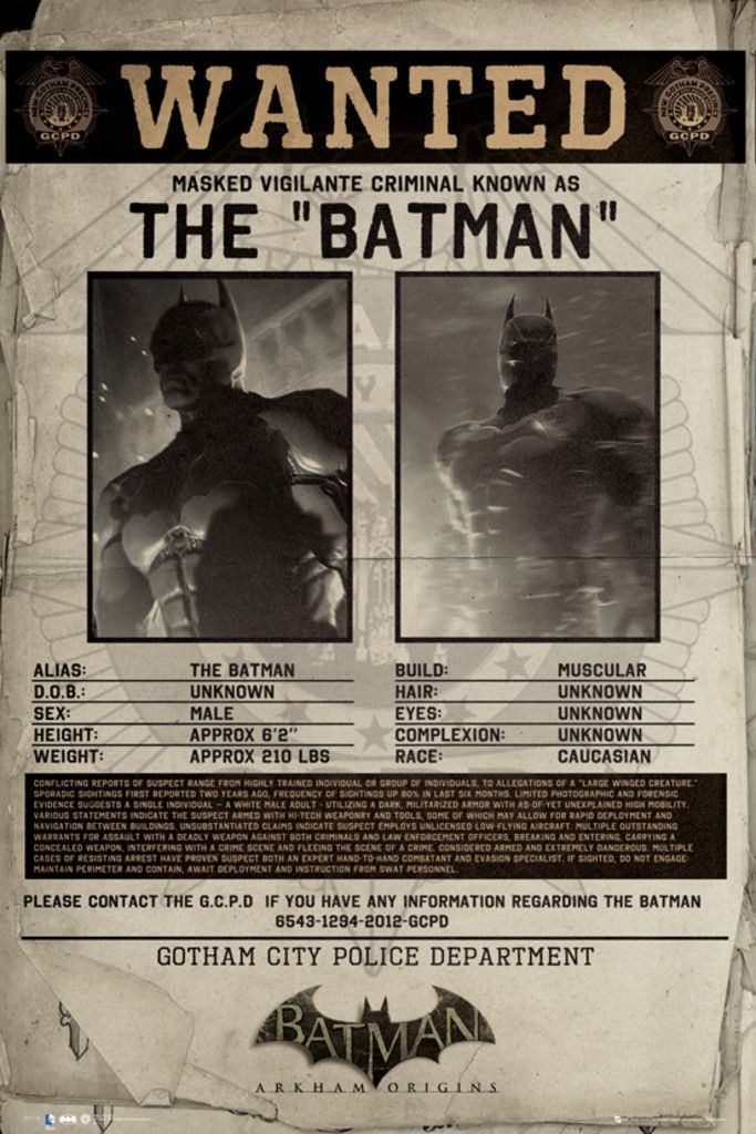 Batman Origins Wanted - Official Poster Official Merchandise - criminal wanted poster