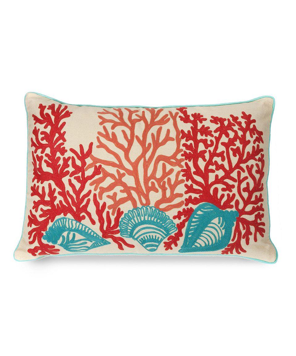 Look at this zulilyfind tyden shells u coral throw pillow by imax