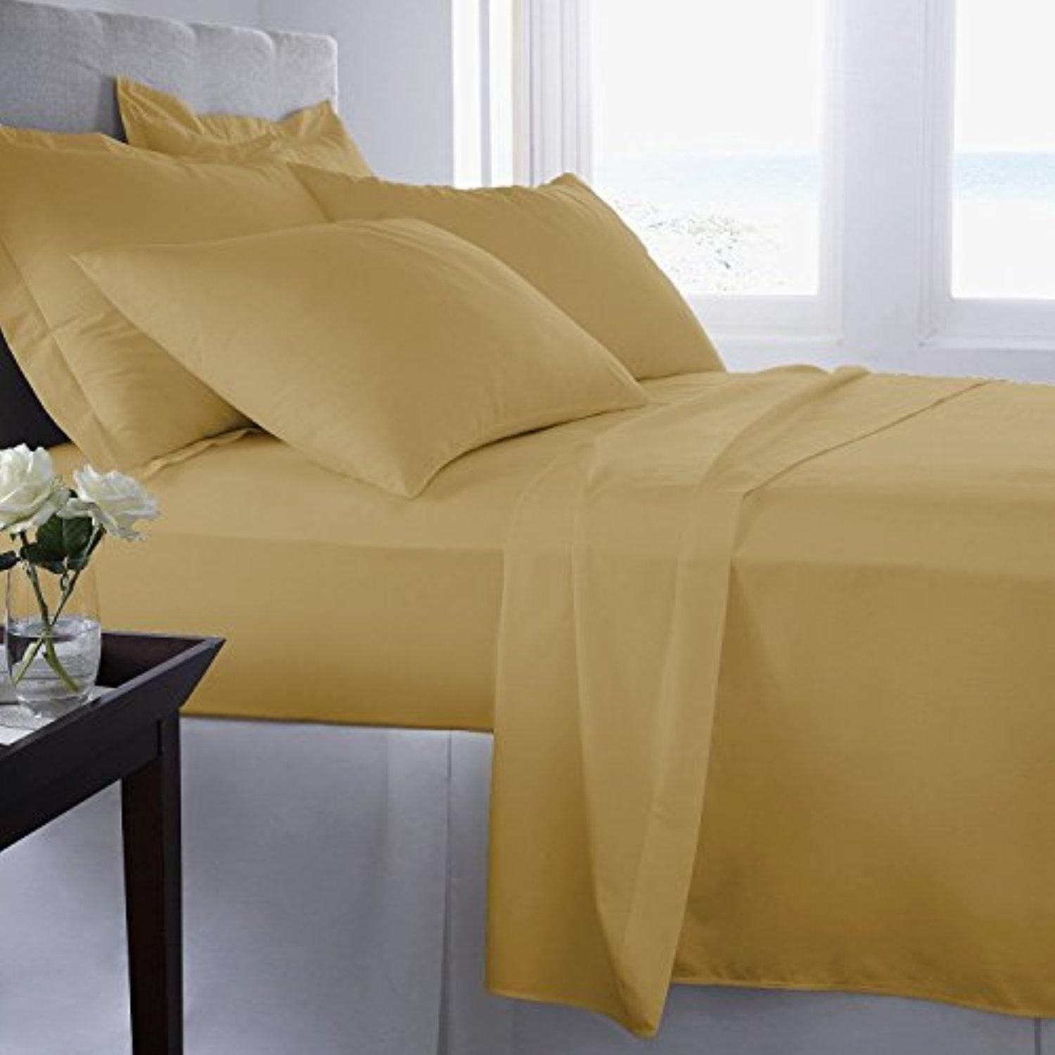 1pc fitted sheet queen solid gold 15 deep pocket 600