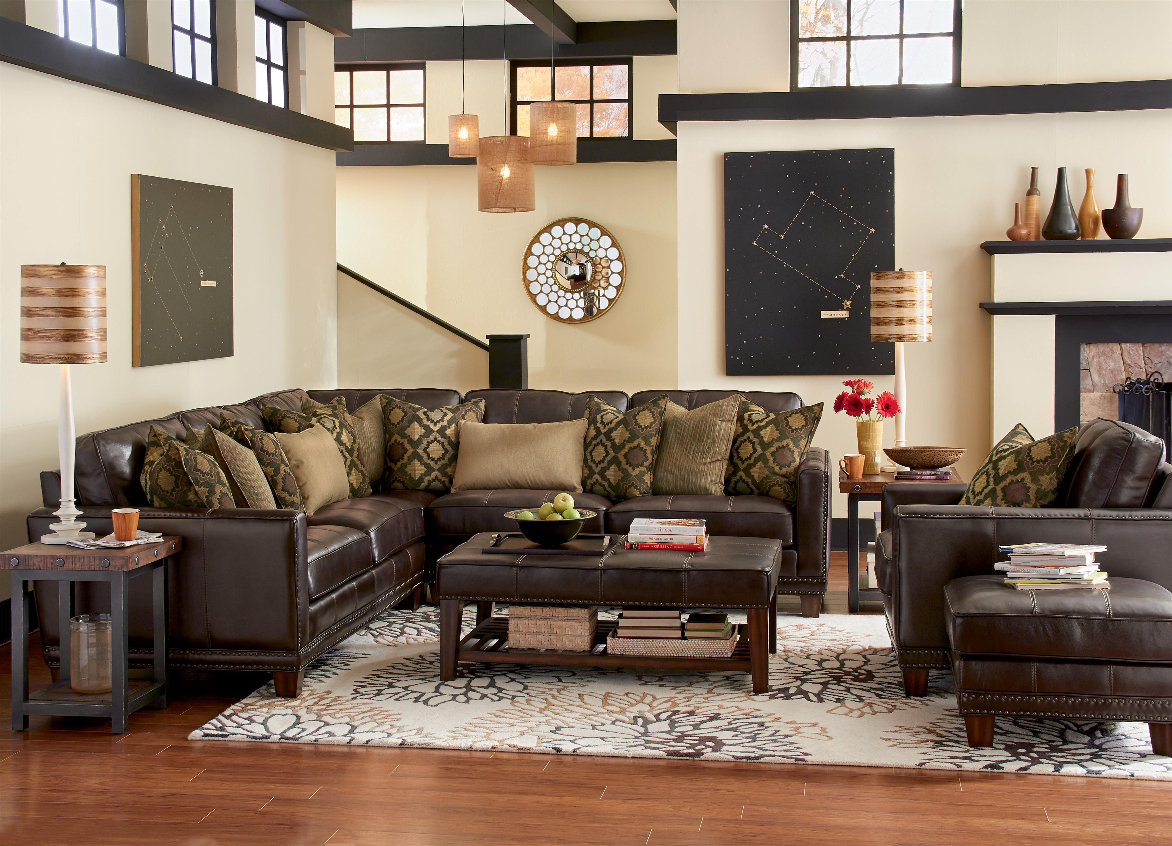 Latitudes port royal transitional four piece sectional - 4 chairs in living room instead of sofa ...