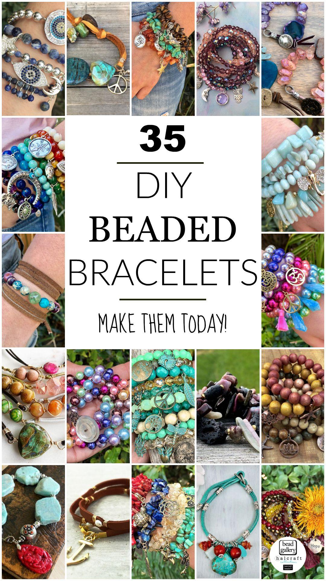 35 Beautiful DIY Bracelets - Free instructions! #beads