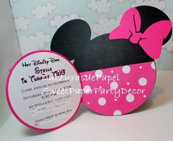 Handmade Minnie Mouse Invitations For Birthdays Baby