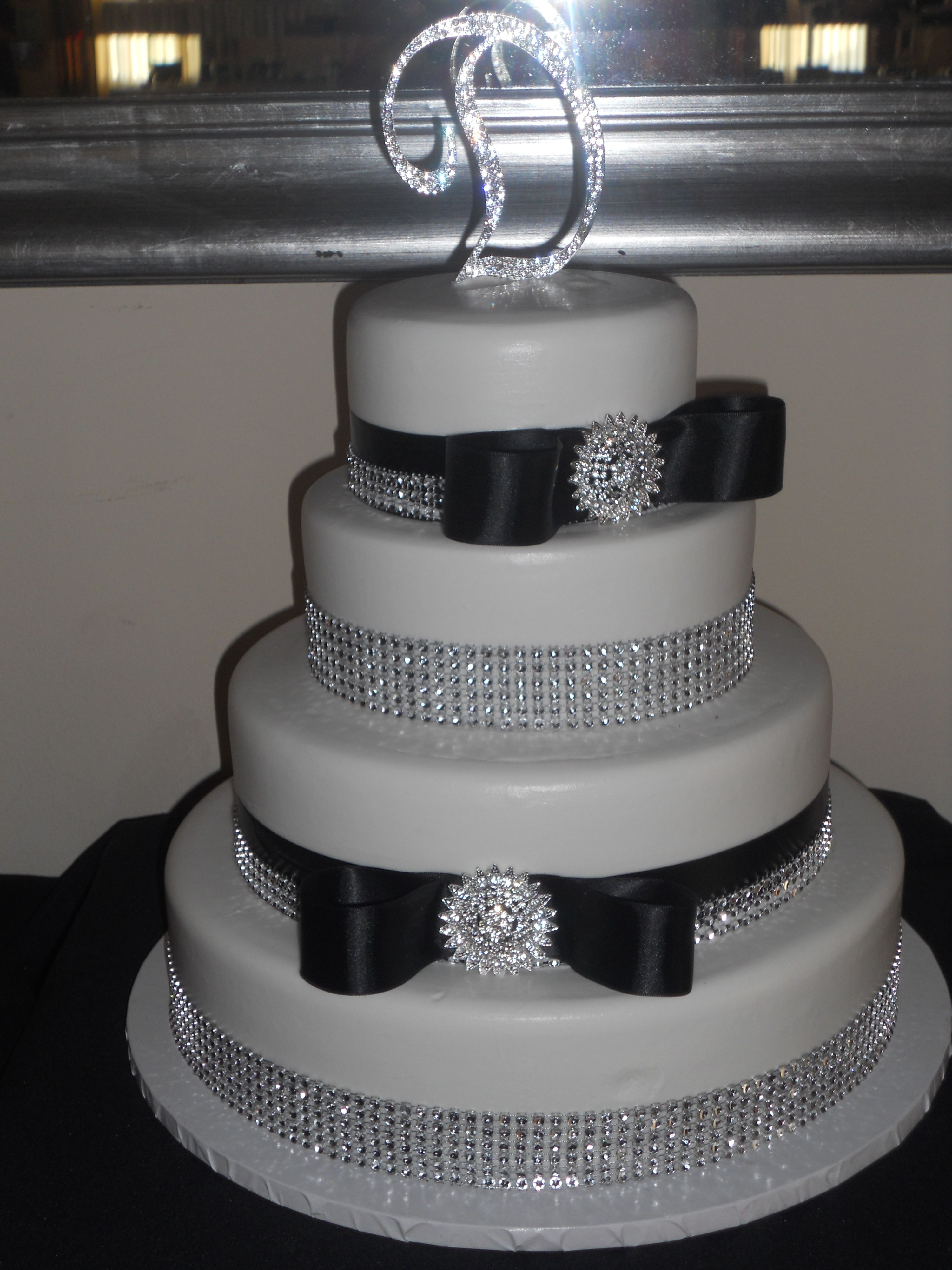 White Silver and Black Bow Wedding Cake