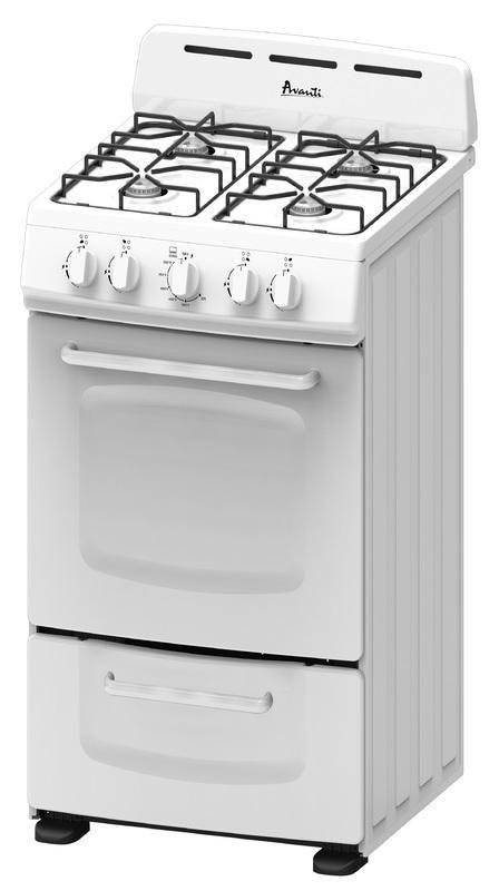 AVANTI GR020POW WHITE 20 INCH GAS RANGE WITH OPEN BURNERS ...
