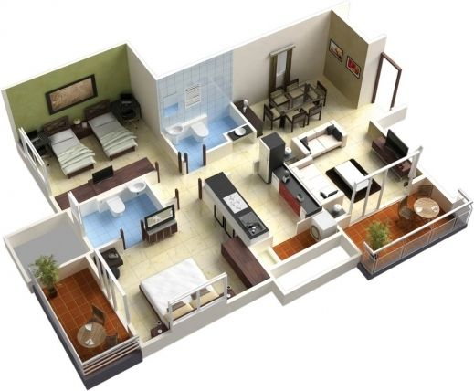 Fascinating 25 More 3 Bedroom 3d Floor Plans Simple Free House Plan