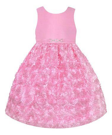 Loving this Ice Pink Rosette Belt Dress - Toddler & Girls on #zulily! #zulilyfinds