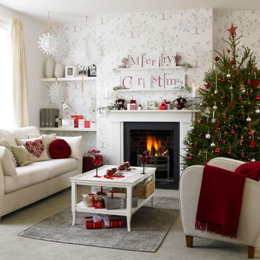 Red and white christmas decorations - Lovely White Christmas Living Room Decor Ideas With Red Color Accents Accessories