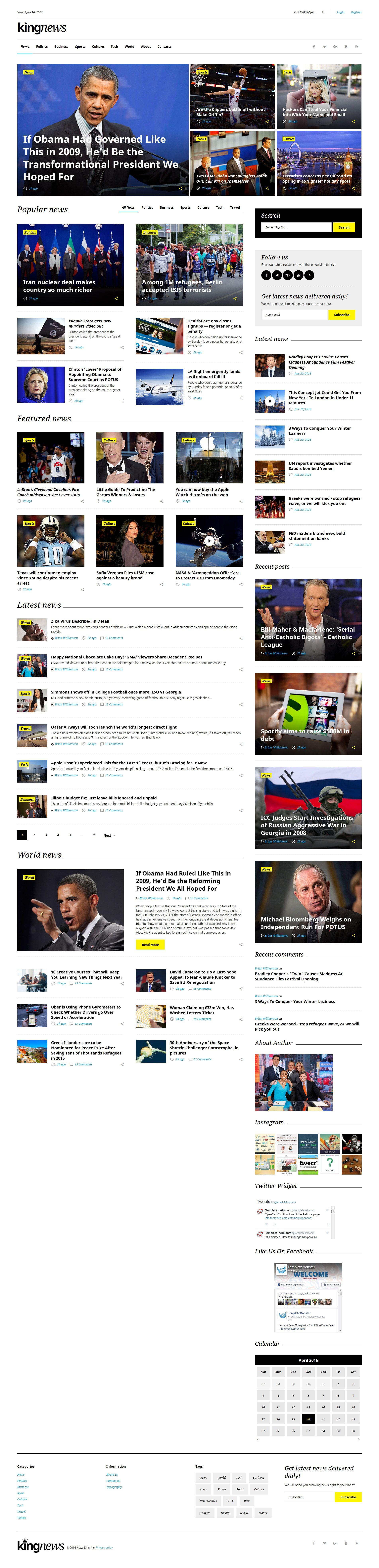 King News - Multipurpose Website Template | Pinterest | Template ...