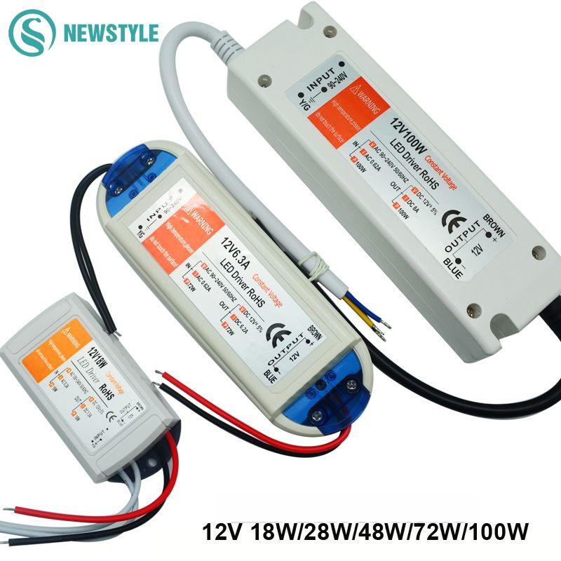 1 stks DC12V Voeding Led Driver 18 W/28 W/48 W/72 W/100 W Adapter ...