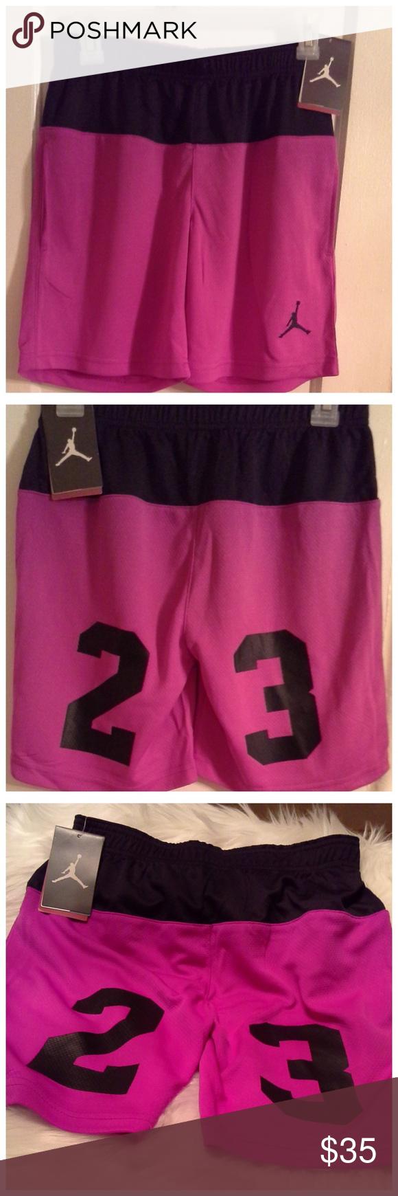 b47f0a80d931 Nike Air Jordan Jumpman Big Girls Shorts NWT Nike Air Jordan Jumpman Big  Girls Black   Pink 23 Basketball Sport Shorts. White Air Jordan flying  Jumpman logo ...