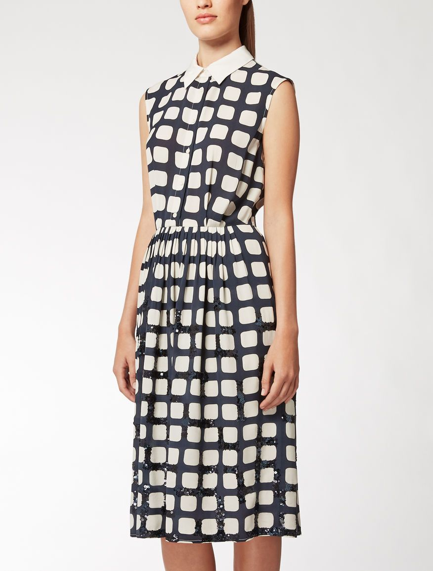 Max Mara Regina Navy Sablé Dress Find Your Outfit On The Official