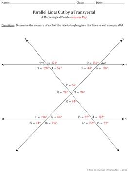 Parallel Lines Cut by a Transversal Puzzle | geometria | Pinterest ...