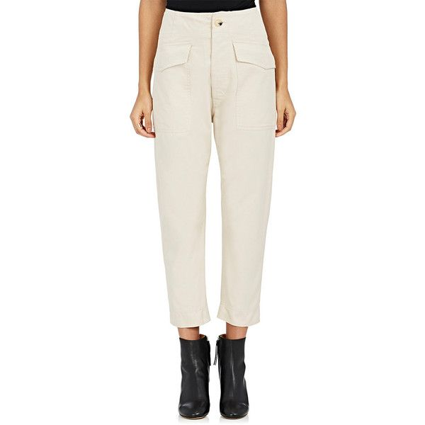 Isabel Marant Étoile Women's Oaklyn Wide-Leg Drop-Rise Pants (15,295 PHP) ❤ liked on Polyvore featuring pants, nude, white wide leg trousers, button pants, white wide leg pants, white pants and wide leg pants