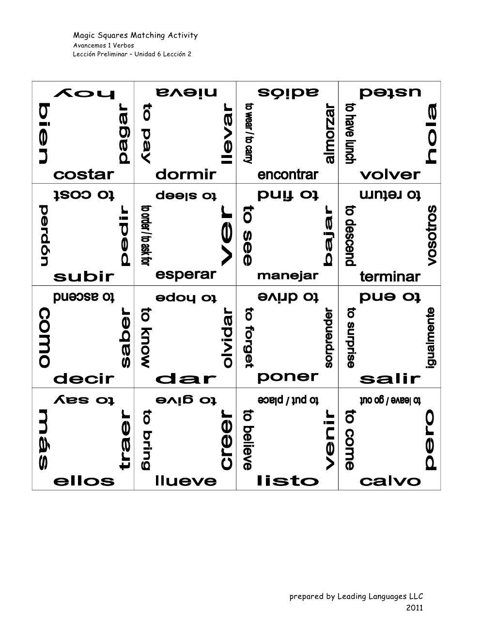 Avancemos 1 All Verbs Magic Squares