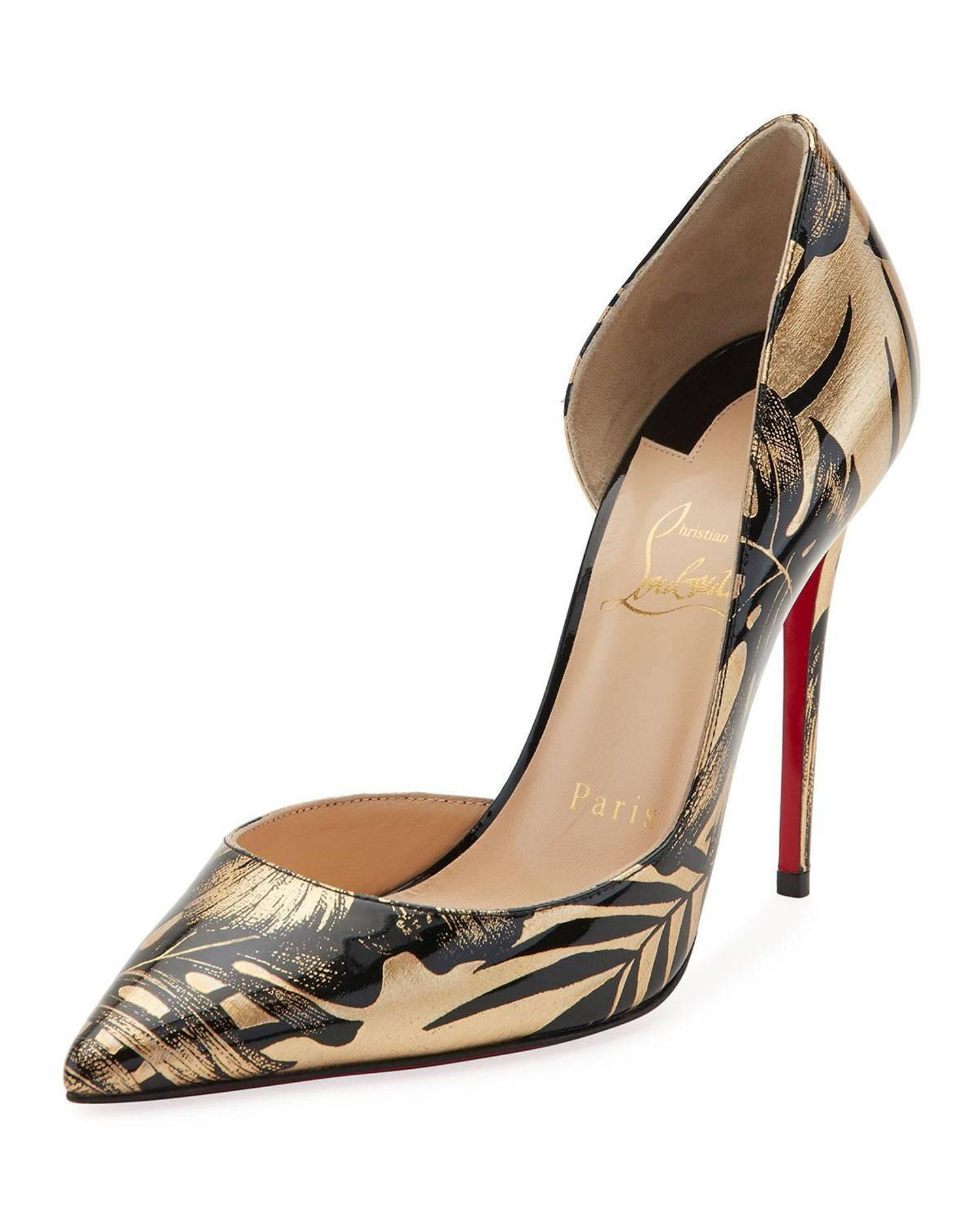 72ba76183ac Christian Louboutin New Black Gold Patent D orsay Evening Sandals Heels in  Box