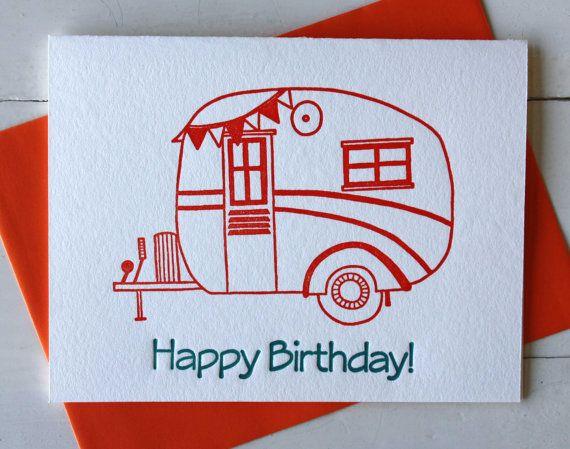 Vintage Wohnwagen Karte Letterpress Geburtstagskarte Von Cocopress
