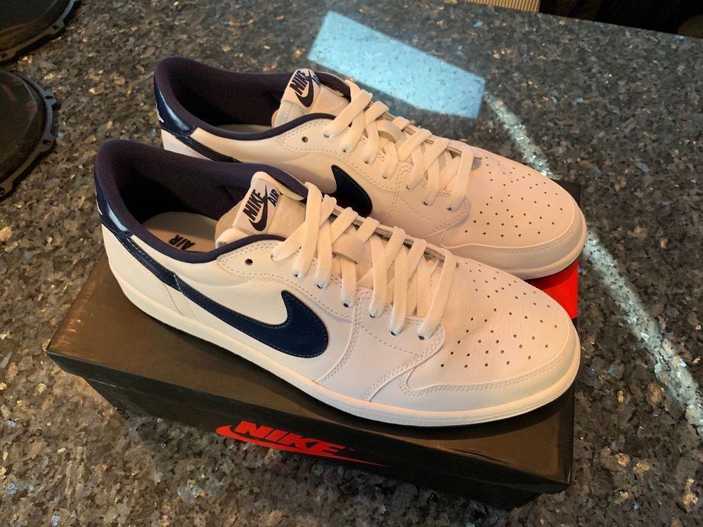 fe4d011cc456 New Nike Air Jordan 1 One Retro Low OG White Midnight Navy Size 13 DS 705329